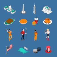 Conjunto de ícones turísticos dos EUA vetor