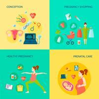 Conjunto de ícones de conceito de gravidez vetor