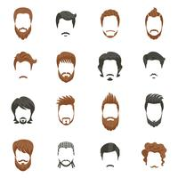 Conjunto de ícones de penteado de homens vetor