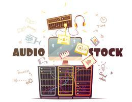 Microstock Audio Concept Ilustração Retro Cartoon vetor