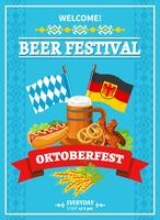 Festival de Octoberfest Welcome Flat Poster vetor