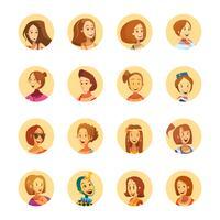 Mulher, avatar, ícones, caricatura, redondo