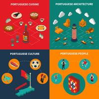 Conjunto de ícones do conceito de Portugal