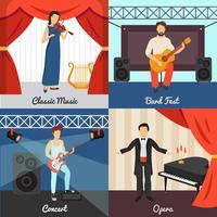 Conjunto de ícones de conceito de teatro vetor