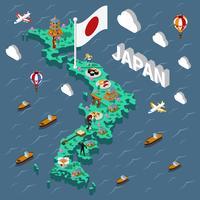 Mapa Isométrico Turístico do Japão vetor