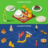 Vietnã Cultura Turística Isométrica 2 Banners vetor