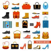 Calçado de moda e conjunto de malas vetor