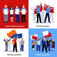 Demonstração Protesto Pessoas 2x2 Icons Set