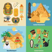 Conjunto de ícones do conceito de Egito vetor