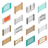 Coleção de isométrica de ícones de elementos de tipos de cercas