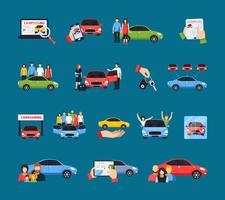 Conjunto de ícones de carros compartilhados