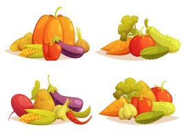 Composições de legumes 4 conjunto de ícones quadrados