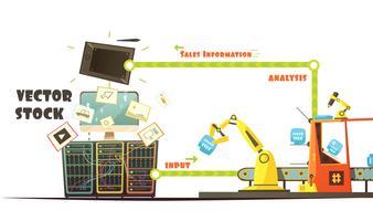 Esquema de desenhos animados do conceito de trabalho do mercado de Microstock vetor
