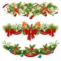 Conjunto de decoração de ramos de bagas de Natal vetor