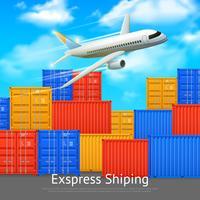 Cartaz expresso do recipiente de carga do transporte vetor