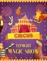 Cartaz mágico de viagem do anúncio da mostra do circo