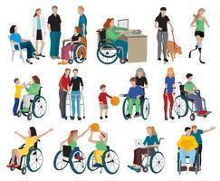 Conjunto de ícones de pessoas com deficiência