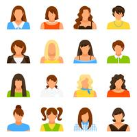 Conjunto de ícones de Avatar de mulher