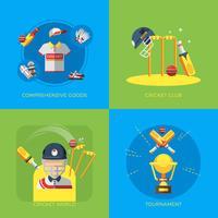 Críquete 2x2 ícones planas vetor