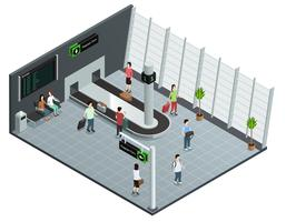 Cartaz isométrico da composição do carrossel de bagagem dos aeroportos