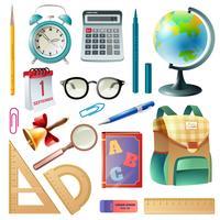 Material escolar fornece a coleção de ícones realista vetor