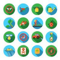 Conjunto de ícones redondos de pesticidas