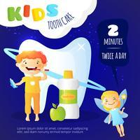 Cartaz dos cuidados dentários das crianças
