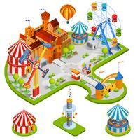 Composição isométrica de parque de diversões