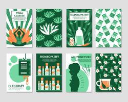 Conjunto de cartões de medicina alternativa vetor