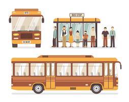 Ícones de plana de parada de ônibus da cidade vetor
