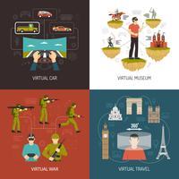 Conceito de Design de realidade Virtual 2 x 2 vetor
