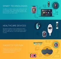 Gadgets de tecnologia wearable plana Banners conjunto vetor
