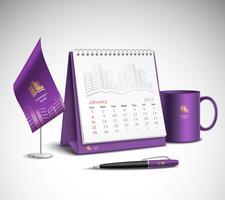 Conjunto de maquetes de identidade corporativa do calendário vetor