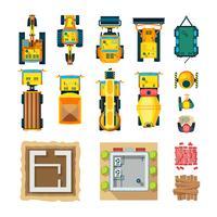 Conjunto de ícones de construção vista superior vetor