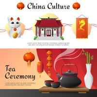 Cultura da China 2 conjunto de Banners horizontais vetor