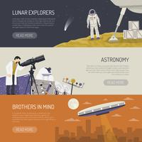 Banners horizontais plana de astronomia
