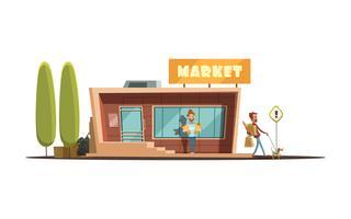 Ilustração de construção de mercado