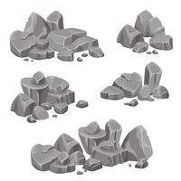 Grupos de projeto de rochas e pedregulhos de pedras vetor