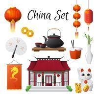 Coleção dos símbolos das tradições da cultura de China vetor