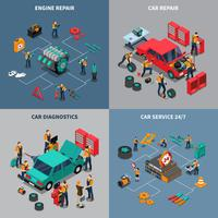 Car Service 4 Isometric Icons Square vetor