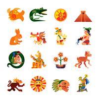 Conjunto de ícones plana de símbolos Maya vetor