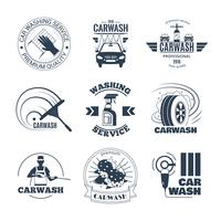 Conjunto de ícones de emblemas preto de lavagem de carro