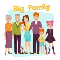 Grande, feliz, família, ilustração