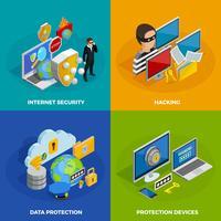 Conjunto de ícones de conceito de proteção de dados vetor