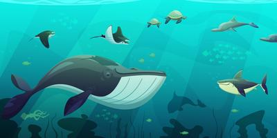 Banner subaquático de vida marinha oceano subaquática vetor