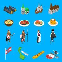 Atrações turísticas de Noruega isométrica coleção de ícones vetor
