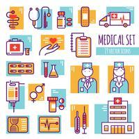Conjunto de ícones de linha médica decorativa