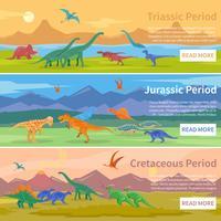 Banners horizontais planas de dinossauros vetor