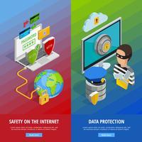 Conjunto de Banners Verticais de Proteção de Dados vetor