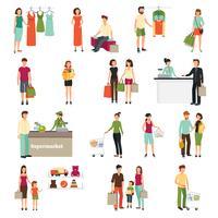 Conjunto de pessoas de compras